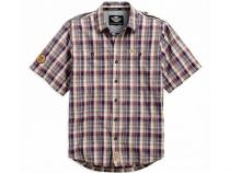 SKULL PATCH PLAID SHIRT