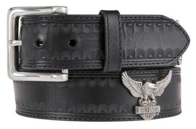 Harley-Davidson® Men's Road Wing Genuine Leather Belt, Black