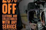 20% off Clothing & Collectables with any Service in April/May