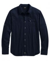 SHIRT-KNIT,ROLL TAB,BLU,B/L