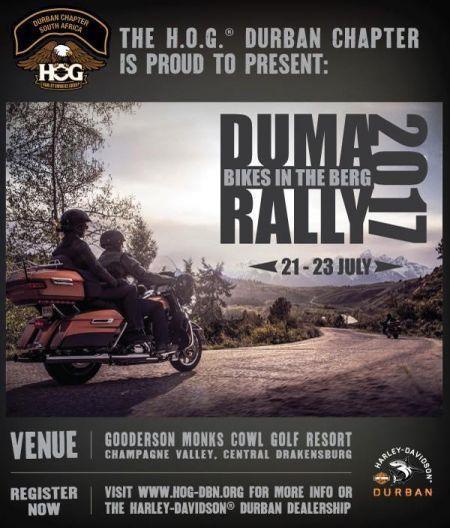 DUMA Rally HarleyDavidson Durban - Us hog rallies 2017 map