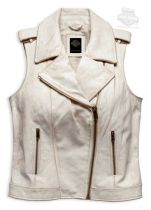 Slim Fit Distressed Crackle Effect Zip Front Off White Vest