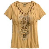 TEE-VNECK,FRINGED,TAN