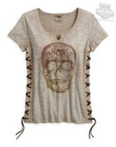 TEE-SIDE LACED,SUGAR SKULL