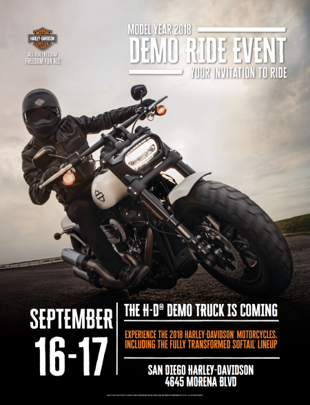 H-D Demo Truck is Here Sept 16 - 17