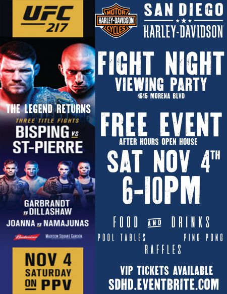 FREE UFC 217 FIGHT NIGHT & OPEN HOUSE