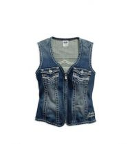 WOMEN'S EMBELLISHED DENIM VEST