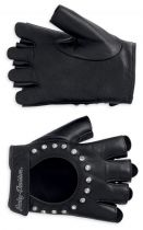 WOMEN'S EMBELLISHED FINGERLESS LEATHER GLOVES