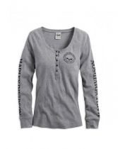 WOMEN'S SKULL SNAP FRONT LONG SLEEVE HENLEY