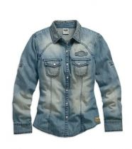 WOMEN'S GENUINE LONG SLEEVE DENIM SHIRT
