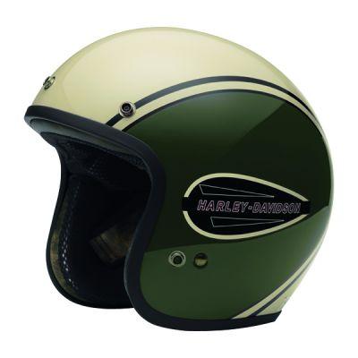 Classic Retro Tank 3/4 Helmet Olive/White