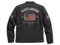 Mens Colton Moto Trademark B&S with U.S. Flag Black Casual Jacket