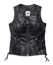 Leather Vest, Brigid Fringe, Women's, Black