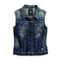 Button Front Distressed Washing Denim Blue Vest