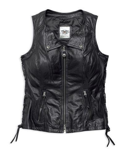 Leather Vest, Brigid Fringe, Women's, Black
