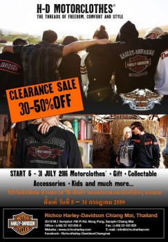 CLEARANCE SALES 30-50% OFF Harley-Davidson® Motorclothes & MERCHANDISE