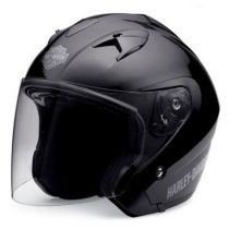 3/4 Retractable Sunshield Gloss Black Helmet
