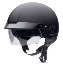 Retractable Sun Shield Flat Black Half Helmet