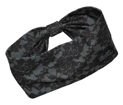Allover Lace Print Knit Headband, Black