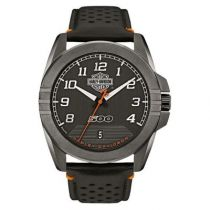 Harley-Davidson® Men's Bar & Shield Stainless Steel Leather Watch