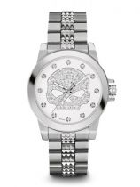 Harley-Davidson® Womens Crystal Bling Willie G Skull White Dial Watch