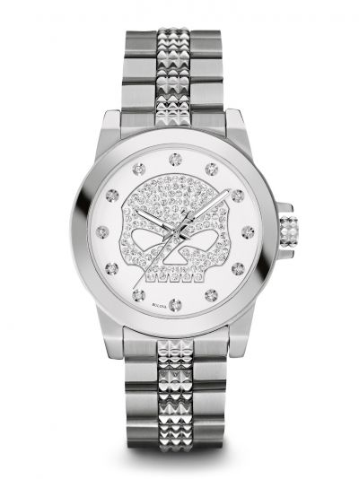 Harley-Davidson® Womens Crystal Bling Willie G Skull White Dial Watch