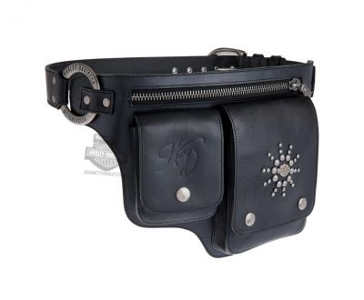 Harley-Davidson® Womens Gypsy Soul Pouch Pockets Black Leather Belt