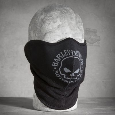 Harley-Davidson® Men's Skull Fleece/Neoprene Face Mask, Black/Grey
