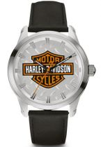 Harley-Davidson Mens B&S with Diamond Plate Watch