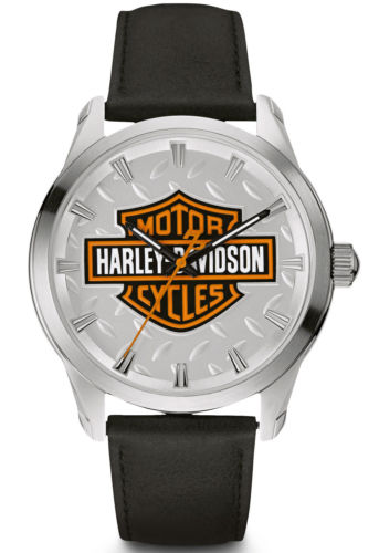 Harley-Davidson Mens B&S with Diamond Plate Watch