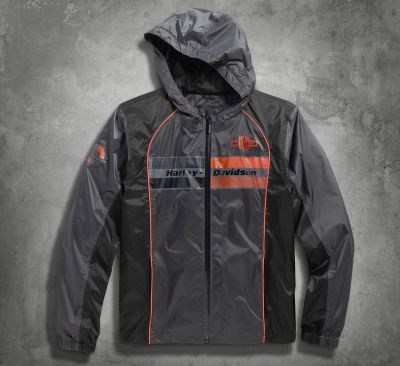 Harley-Davidson® Mens Cortex Waterproof Mid-Layer Trademark B&S Logo Grey Casual Jacket