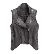 WINTER 2016 STUDDED DENIM BIKER VEST