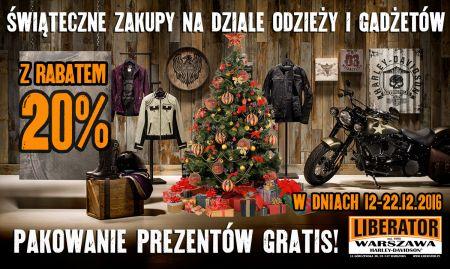 W dniach 12-22.12.2016 zakupy na dziale odzieży i gadżetów 20% taniej