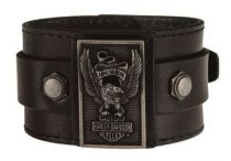 Harley-Davidson® Men's Eagle Rider Genuine Leather Cuff, Black