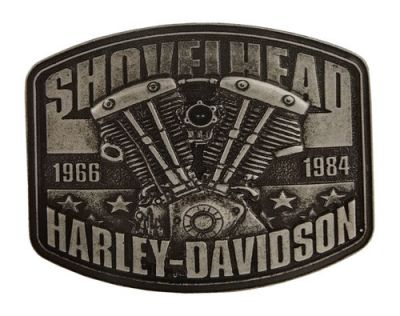 Harley-Davidson Men's Shovelhead Engine Antique Nickel Belt Buckle