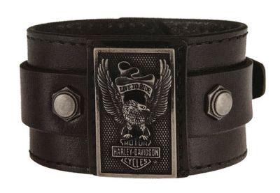 Harley-Davidson® Men's Eagle Rider Genuine Leather Cuff, Black