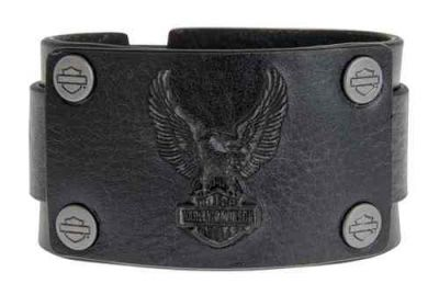 Harley-Davidson® Men's Mudflap Debossed Eagle Cuff, Black Leather