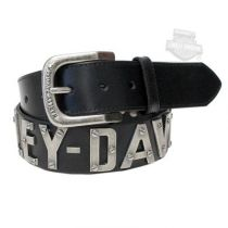 Harley-Davidson® Mens Metal Font H-D Name Black Leather Belt