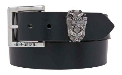 Harley-Davidson Men's Gate Keeper Eagle Belt, Black Leather