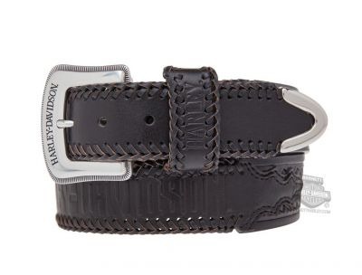 Harley-Davidson® Mens Dakota Woven Leather Detail Black Leather Belt