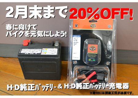 バッテリー&充電器20%OFFキャンペーン!