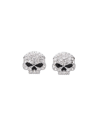 JEWELRY-EARRINGS,CRYSTAL SKULL STUD,CLR スカル ピアス