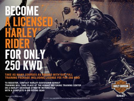 BECOME A LICENSED HARLEY RIDER FOR ONLY 250 KWD