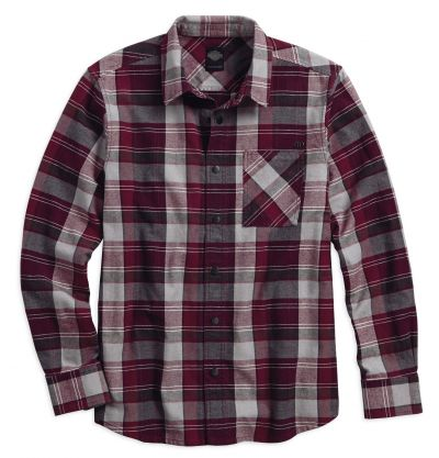 Harley-Davidson® Mens Slim Fit Zippered Pocket Enzyme Wash Plaid Long Sleeve Woven Shirt