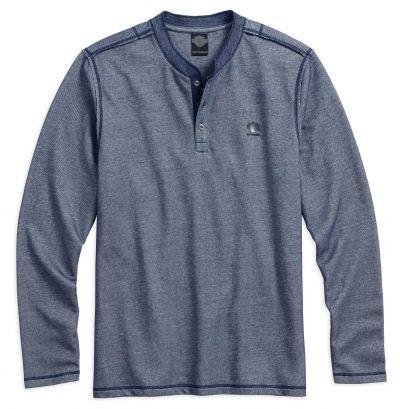Harley-Davidson® Mens Slim Fit Garment Wash B&S Blue Long Sleeve Henley