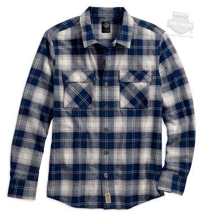 Harley-Davidson® Mens Slim Fit Workwear Acid Wash Plaid Long Sleeve Woven Shirt