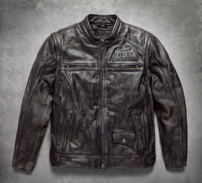 Harley-Davidson® Mens Ironwood Reflective Convertible Black Leather Jacket