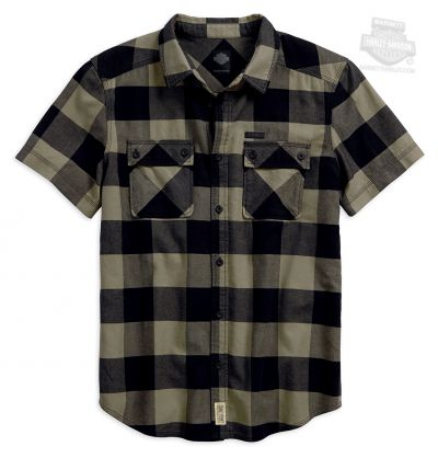Harley-Davidson® Mens Slim Fit Large Scale Heavy Enzyme Plaid Short Sleeve Woven Shirt