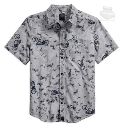 SHIRT-ALLOVER BIKE PRINT,GRY,B/L