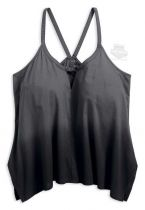 Slim Fit Racerback Dip Dye Handkerchief Hem Charcoal Sleeveless Tank